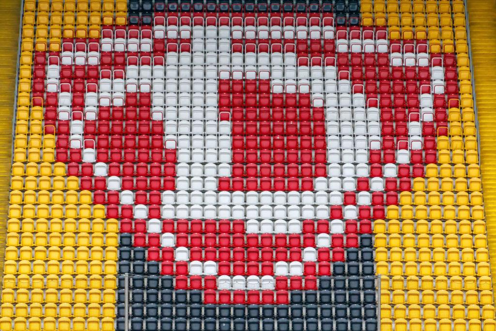 Block B mit Dynamo-Logo • Rudolf-Harbig-Stadion, Dresden
